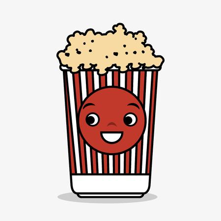 cartoon pop corn basket icon vector illustration