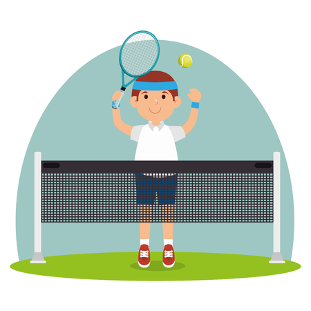 guy player tennis court racket vector illustration 일러스트