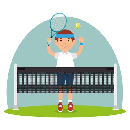 guy player tennis court racket vector illustration Illustration