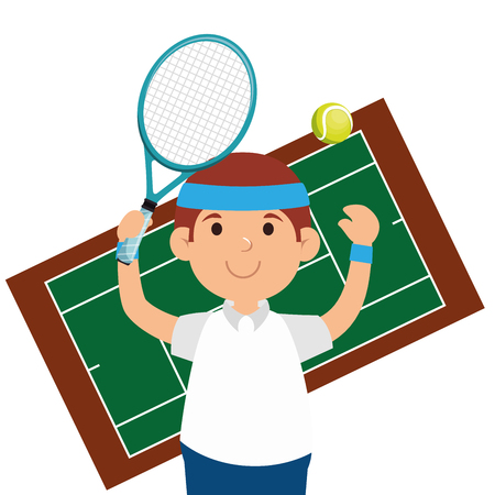 happy man tennis court game vector illustration 일러스트