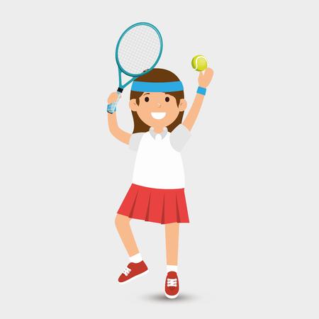 jolie fille joue au tennis design illustration vectorielle