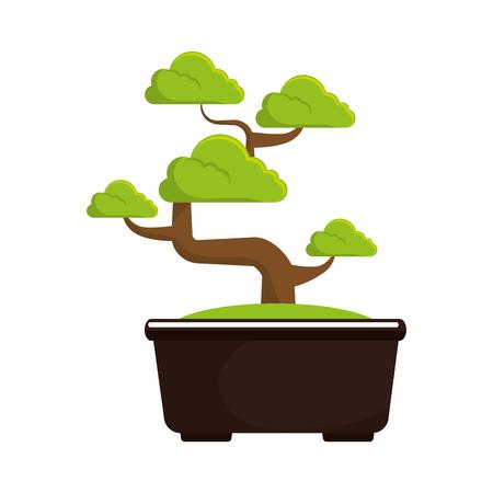 bonsai tree culture japanese vector illustration Ilustração Vetorial
