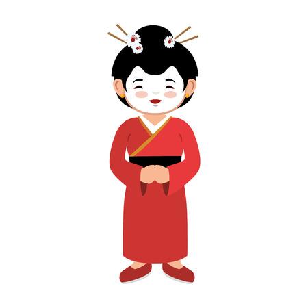 lovely girl red kimono japanese icon graphic vector illustration