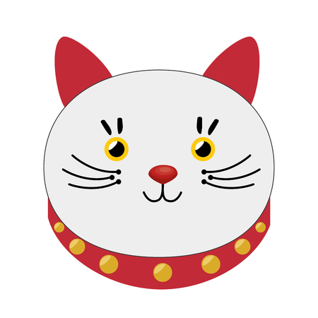 lucky cat hold coin japan icon vector illustration Illustration