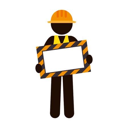 silhouette worker holding site under construction banner vector illustration