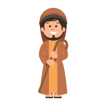saint joseph manger character vector illustration design Ilustrace