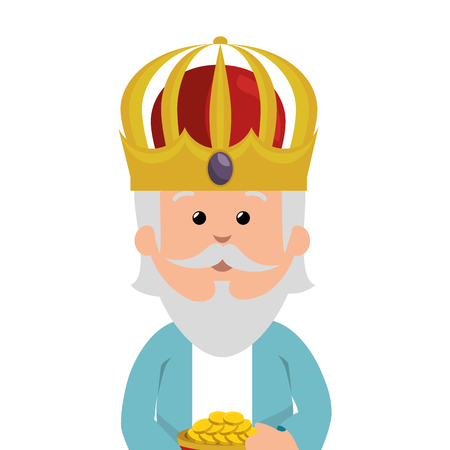 melchior: wise man epiphany manger character vector illustration design