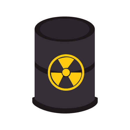 radioactive tank and warning sign: nuclear tank barrel isolated icon vector illustration design