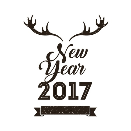 happy new year 2017  card with decorative deer horns icon. colorful design. vector illustration