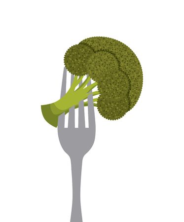 broccoli vegetable in a fork over white background. healthy food design. vector illustration