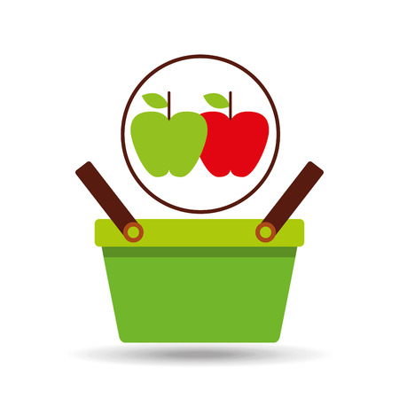 rich in vitamins: commerce green basket tasty apple vector illustration Illustration