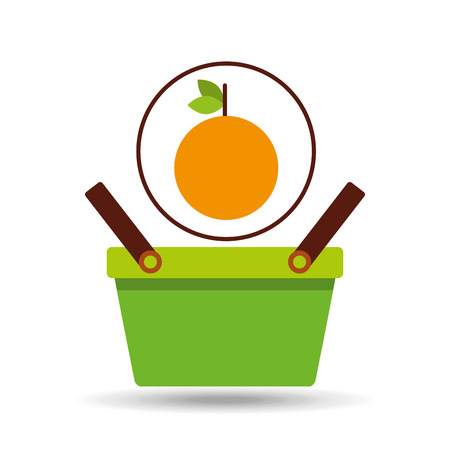 green basket fresh orange design icon vector illustration Illustration