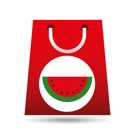 opened bag: grocery shopping bag watermelon fruit design vector illustration eps 10