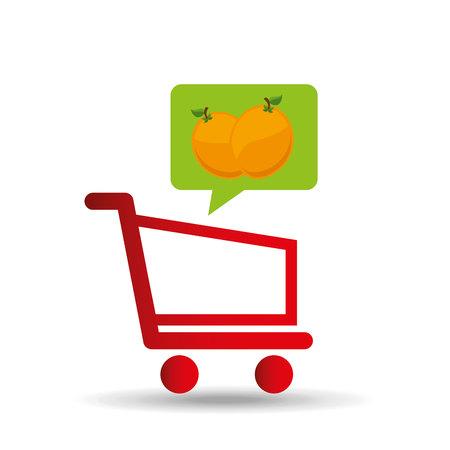 e-shopping fresh peach fruit design vector illustration eps 10 Illustration
