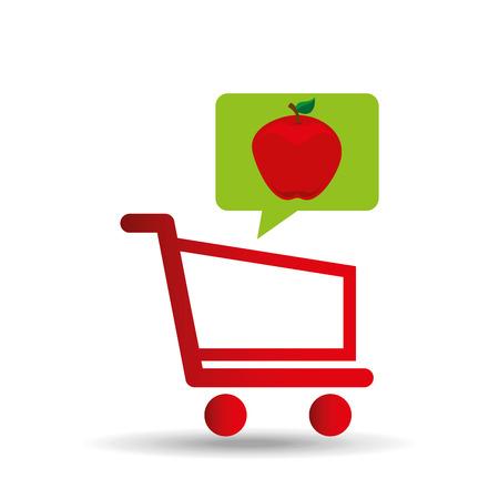 grocer: e-shopping fresh apple fruit design vector illustration eps 10