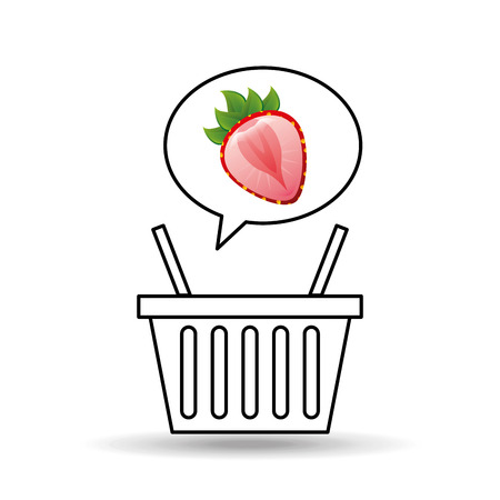 bast basket: basket market sweet strawberry icon design vector illustration eps 10
