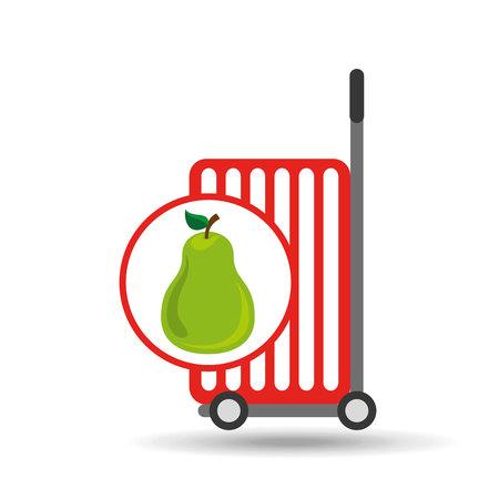 trolley shop juicy pear fruit vector illustration eps 10