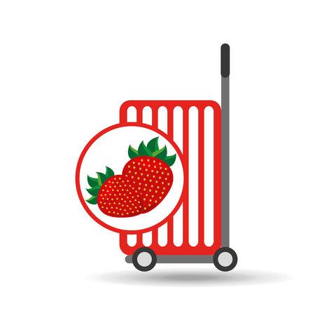 trolley shop juicy strawberry fruit vector illustration eps 10 Illustration
