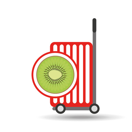 trolley shop juicy kiwi fruit vector illustration eps 10