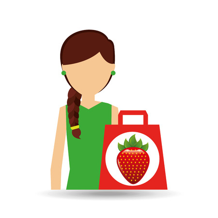 cartoon girl shopping strawberry fruit icon vector illustration eps 10