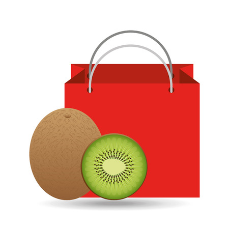 kiwi fruit: red package juicy kiwi fruit vector illustration eps 10 Illustration