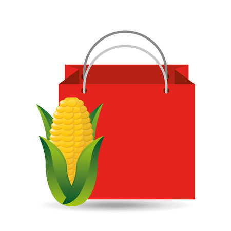 red bag buying corn cob vegetable vector illustration
