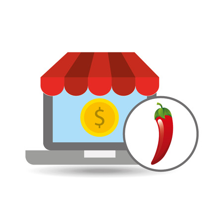 buying online red chili vegetable icon vector illustration