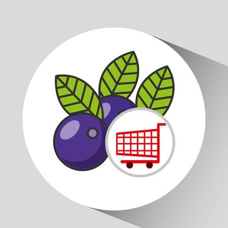 prune: cart shopping fruit plum icon graphic vector illustration
