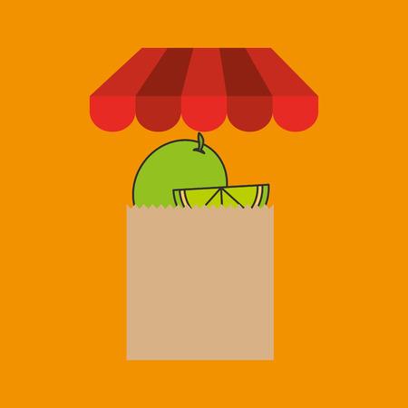 filled: lemon bag filled fruit offer design vector illustration Illustration