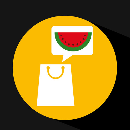 grocery shopping bag watermelon fruit design vector illustration