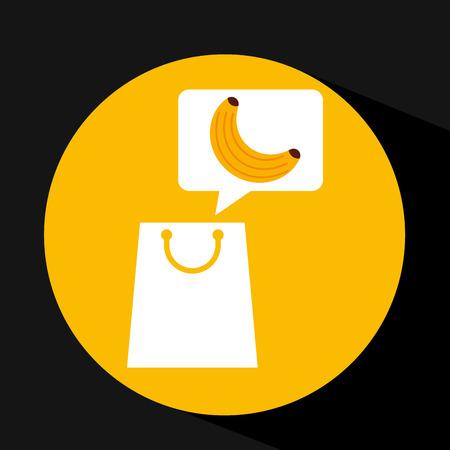 grocery shopping bag banana fruit design vector illustration Illustration