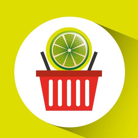 grocer: basket market citrus lemon icon design vector illustration
