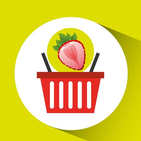 bast basket: basket market sweet strawberry icon design vector Illustration