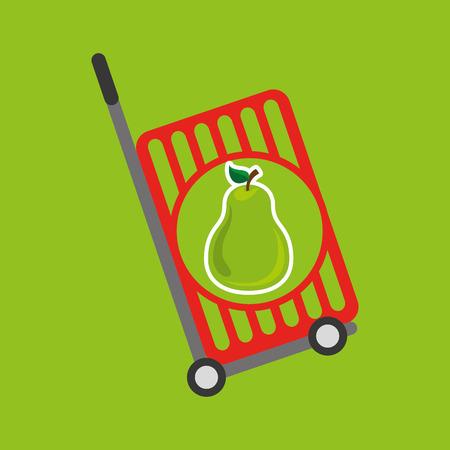 shoppers: trolley shop juicy pear fruit vector illustration