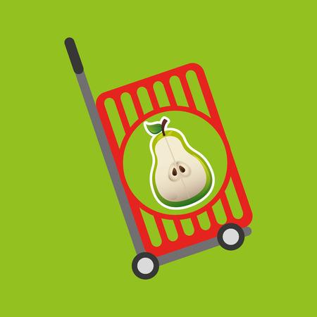 trolley shop juicy pear fruit vector illustration