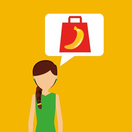 basketful: cartoon girl shopping banana fruit icon vector illustration eps 10 Illustration