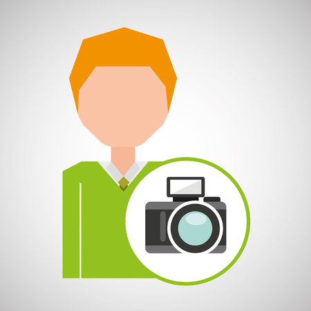 film title: cartoon business man photographic camera icon vector