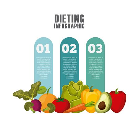 desing: infographic presentation of healthy food for dieting with vegetables icons. colorful desing. vector illustration