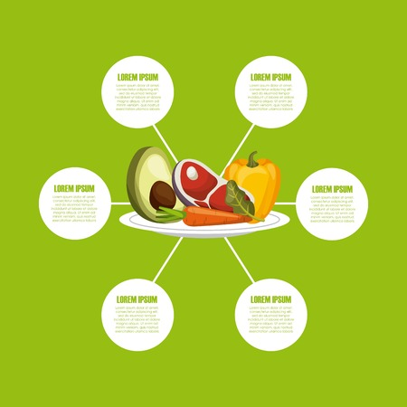 dieting: infographic presentation of healthy food for dieting with vegetables icons. colorful desing. vector illustration