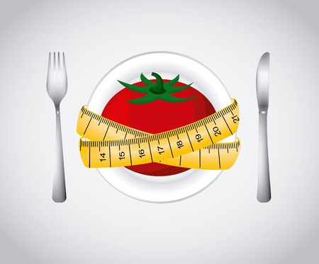 dieting: plate with tomato and yellow measurement tape and fork and knife over white background .healthy food for dieting. colorful design. vector illustration