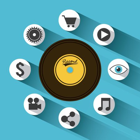 cd recorder: vinyl with yellow label with social media icons over blue background. colorful design. vector illustration. vector illustration