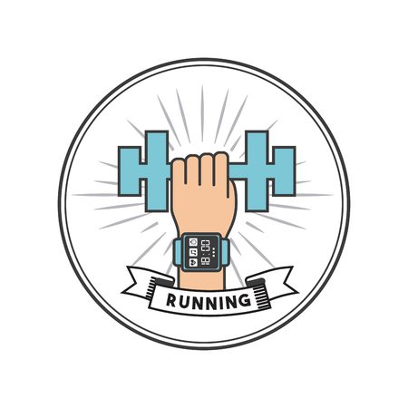 endurance run: seal stamp and hand with sport smart watch and holding a dumbbell icon. running and sport design. vector illustration