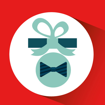 happy fathers day with gift bowtie vector illustration