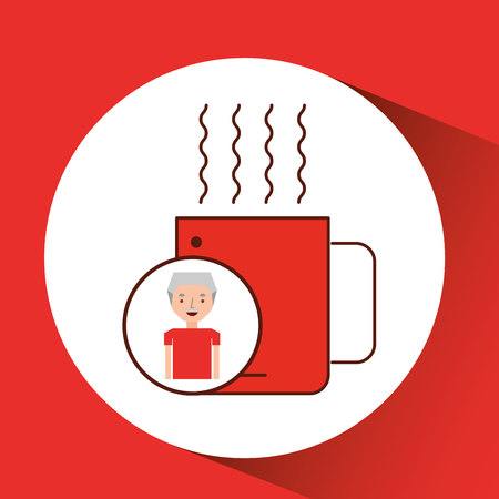 decorate notebook: man old gift cup coffee graphic vector illustration Illustration