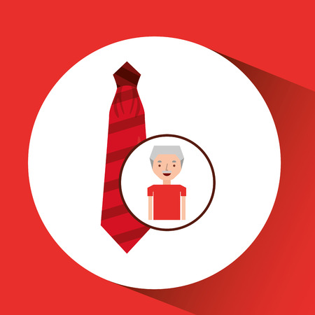man gift red tie graphic vector illustration