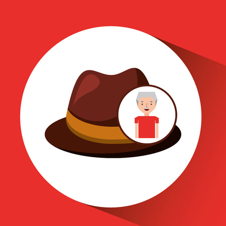 children s art: old man fathers day gift hat vector illustration