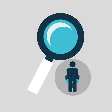 silhouette sitting business searching icon vector illustration Illustration