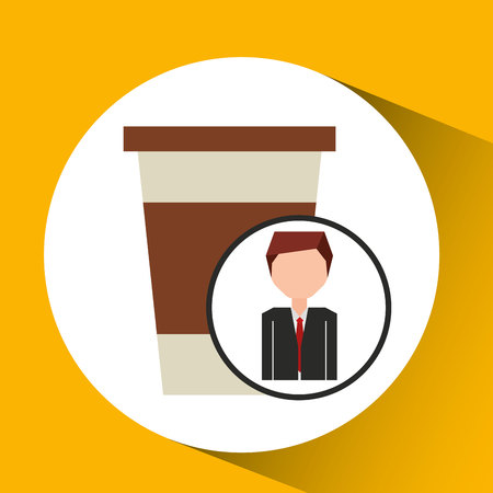 businessman character concept cup coffee break Illustration