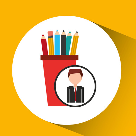 businessman character pencil holders concept vector illustration