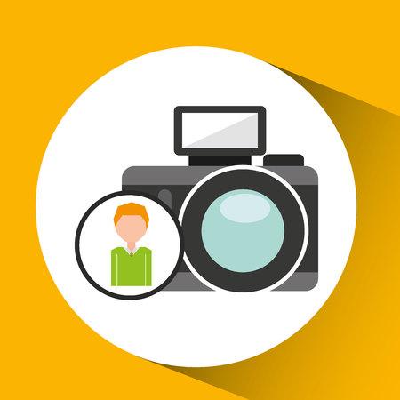 cartoon business man photographic camera icon vector illustration Illustration